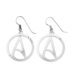 Circle Atheist Silver Earrings - 1