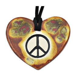 Peace Heart Ceramic Necklace - 2.375