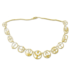 Unitarian Universalist Flaming Chalice Gold Necklace - 24