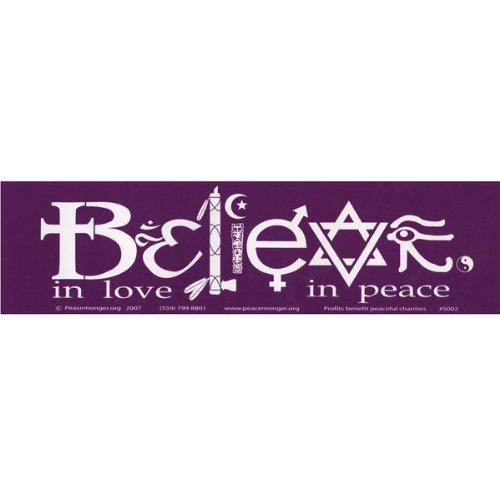 Believe In Love In Peace Symbols Bumper Sticker