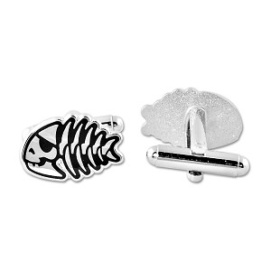"Jolly Pirate Fish Silver Cufflinks - 3/4"" Wide"