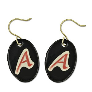 "Dawkins A for Atheist Ceramic Earrings - 1.25"" Tall"