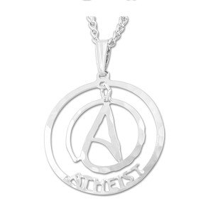 "Circle Atheist Two Part Necklace - 1"" Diameter"