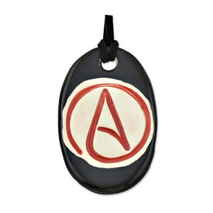 "Circle Atheist Oblong Ceramic Necklace - 2.25"" Tall"