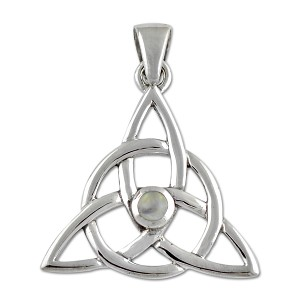 "Triquetra Gemstone Sterling Silver Pendant - 1.25"" Tall"