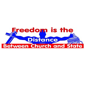 "Distance Between Church State Bumper Sticker 11"" x 3"""