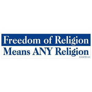 "Freedom Of Religion Bumper Sticker 11"" x 3"""