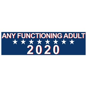 "Any Functioning Adult 2020 Bumper Sticker 11"" x 3"""