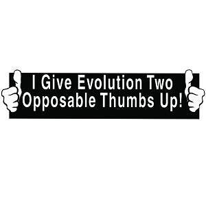 "Two Opposable Thumbs Up Bumper Sticker 11"" x 3"""