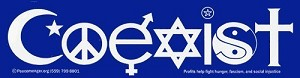 Coexist in Interfaith Symbols Bumper Sticker