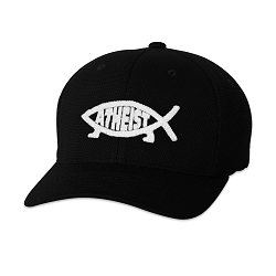 Atheist Fish Embroidered Flexfit Adult Cool & Dry Piqué Mesh Cap Hat