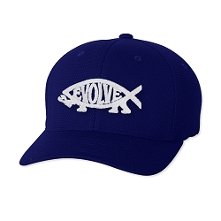 EvolveFish Embroidered Flexfit Adult Cool & Dry Piqué Mesh Cap Hat