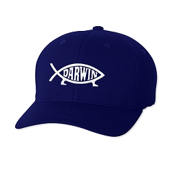 Darwin Fish Embroidered Flexfit Adult Cool & Dry Piqué Mesh Cap Hat