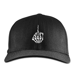 Skeleton Hand with Middle Finger Flexfit Adult Cool & Dry Piqué Mesh Cap Hat