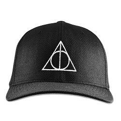 HP Deathly Wand Stone Cloak Symbol Flexfit Adult Cool & Dry Piqué Mesh Cap Hat