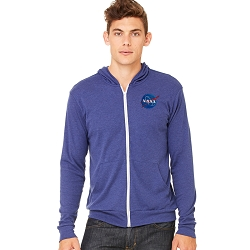 NASA Space Symbol Triblend Full-Zip Lightweight Hoodie