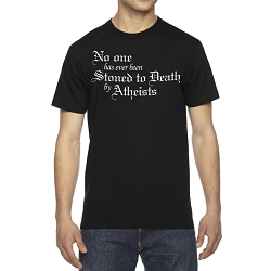No One Has Ever Been Stoned to Death by Atheists Men's Cotton Crew Neck T-Shirt