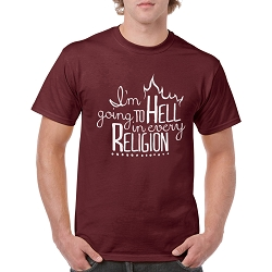 I'm Going to Hell in Every Religion Men's Cotton Crew Neck T-Shirt