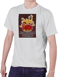 FSM Flying Spaghetti Monster He Boiled for your Sins Men's Cotton Crew Neck T-Shirt