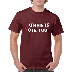 Atheists Vote Too! Men's Cotton Crew Neck T-Shirt