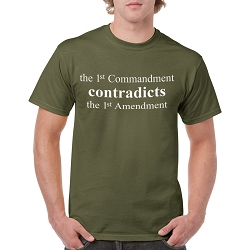 The 1st Commandment Contradicts the 1st Amendment Men's Cotton Crew Neck T-Shirt
