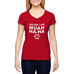 And May I Add Muah Ha Ha Atom Women's Cotton V-Neck T-Shirt