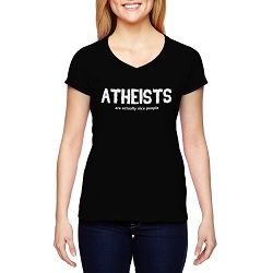 Atheists are Actually Nice People Women's Cotton V-Neck T-Shirt