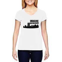 Imagine No Religion Twin Towers Women's Cotton V-Neck T-Shirt