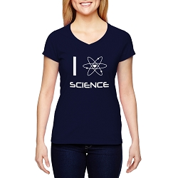 I Love Science Atom Women's Cotton V-Neck T-Shirt