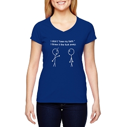 I Didn't Lose My Faith I Threw it Away Women's Cotton V-Neck T-Shirt