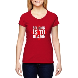 Religion is to Blame Women's Cotton V-Neck T-Shirt