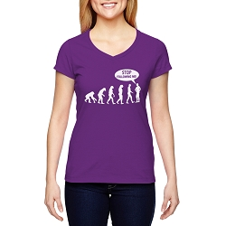 Stop Following Me Evolution Women's Cotton V-Neck T-Shirt