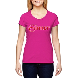 Sinner Women's Cotton V-Neck T-Shirt