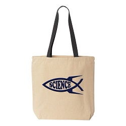 Rocket Science Fish Natural Canvas Tote - [Black Handle]