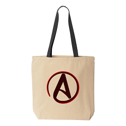 Circle A for Atheist Natural Canvas Tote - [Black Handle]