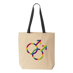Male Couple Pride Natural Canvas Tote - [Black Handle]