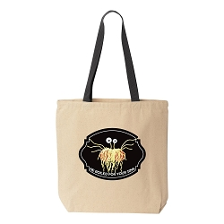 FSM Flying Spaghetti Monster He Boiled for Your Sins Natural Canvas Tote - [Black Handle]