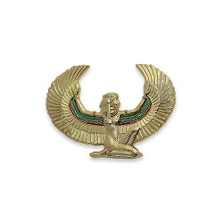 Isis with Wings Kneeling Auto Emblem - [Gold][3 1/4'' x 2 1/4'']