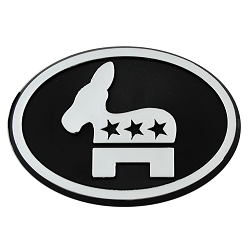 Democratic Party Plastic Auto Emblem - [Silver][3'' x 2.75'']