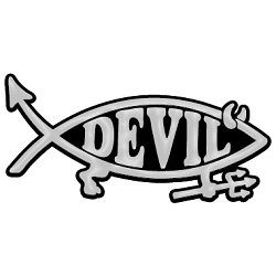 Devil Fish with Horns & Fork Plastic Auto Emblem - [Silver][5'' x 2'']
