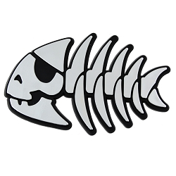 FSM Jolly Pirate Fish Plastic Auto Emblem - [Silver][4.25'' x 2.75'']