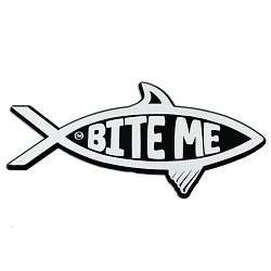 Bite Me Fish Chrome Auto Emblem - 5