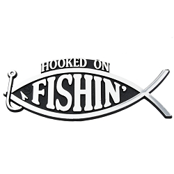 Hooked on Fishing Plastic Auto Emblem - [Silver][5.25