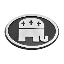 Republican Party with Crosses Plastic Auto Emblem - [Silver][3