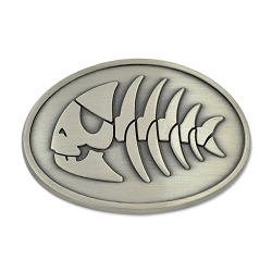 FSM Jolly Pirate Fish Antique Silver Belt Buckle