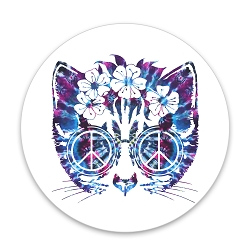 Peace Cat Pinback Button - [1.25'' Diameter]