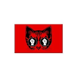 Resist Fist Cat Refrigerator Magnet  - [3'' x 2'']
