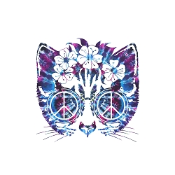Peace Cat Diameter Bumper Sticker - [5'' Diameter]