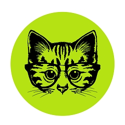 Nerd Cat Diameter Bumper Sticker - [5'' Diameter]