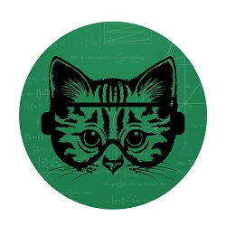 Science Cat Diameter Bumper Sticker - [5'' Diameter]